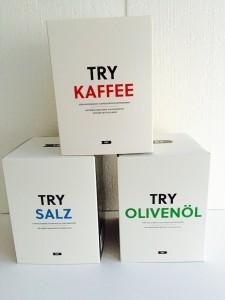 Try Boxen Kaffee Salz und Olivenoel