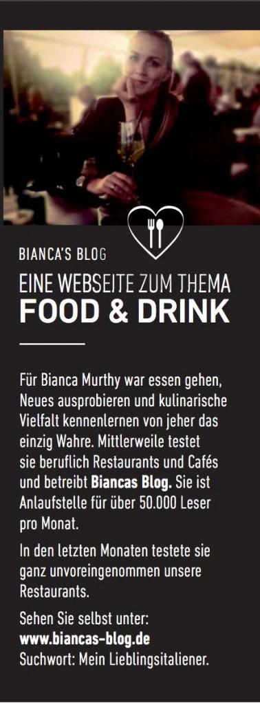 """Bianca´s Blog im """"Mein Lieblingitaliener"""" Newsletter"""